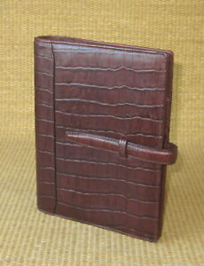 Compact Franklin Covey Brown Croc Leather 1 Rings Open Planner binder 200