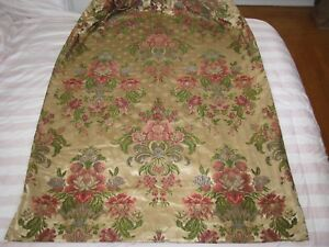 Antique French Fabric Silk Damask Floral Panel Window Drape Lined Opulent C 1900