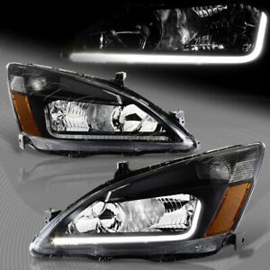 For 2003 2007 Honda Accord Drl Led Black Housing Headlights W amber Reflector