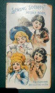 Antique Sewing Needle Holder Victorian New Holland Pa Litho Children Eli Hess