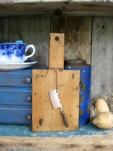 Early Antique Child S Wood Bread Board W Antique Toy Meat Cleaver Free Shipping