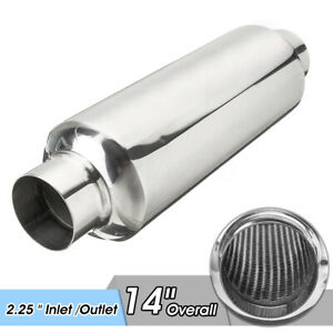 2 25 Inlet Outlet 14 Overall Car Exhaust Muffler Resonator Stainless Steel