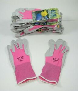 Atlas 370 Nitrile Rubber Palms Work Gloves 10 Pair Large Pink