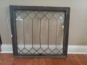 Antique Vintage Architectural Slavage Leaded Glass Gemometric Window