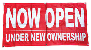 2x4 Ft Now Open Under New Ownership Banner Sign Polyester Fabric Rb