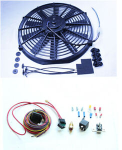 14 Electric Straight Blade Reversible Radiator Cooling Fan 12v switch Relay Kit
