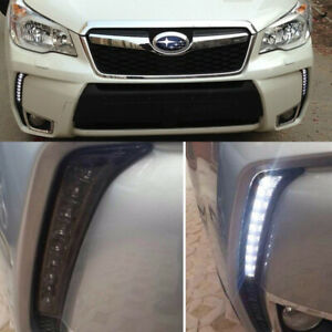 2x Led Drl Daytime Running Light Fog Lamp Kits Fit For Subaru Forester 2013 2018