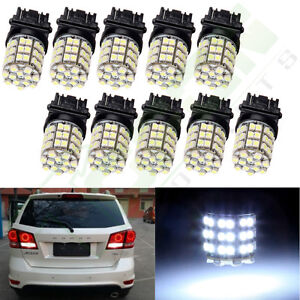 10pcs White Car Brake Backup Reverse Light Blubs 3157 54 3528 smd Led 3457 4114