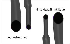 4 1ratio 1 4 Black Heat Shrink Tubing Adhesive Lined Electrical Wire Wrap 15ft