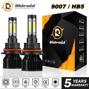 4 sides Led Headlight Bulb Conversion Kit 9007 High low Dual Beam 2400w 6000k