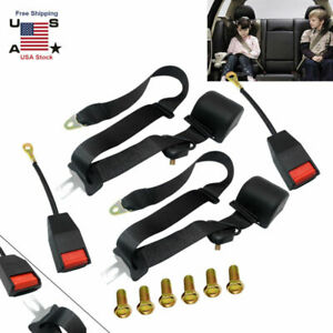 3 Point Adjustable Seat Belt Retractable Car Truck Safety Lap Fastener Kit Us