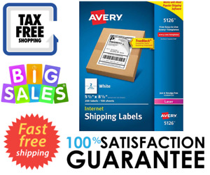 Avery Internet Shipping Labels For Laser Printers 5 5 X 8 5 White 05126