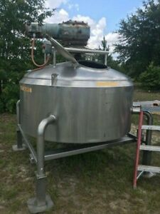300 Gallon Stainless Steel Scrape Surface Steep Cone Bottom Mixing Vessel Tank