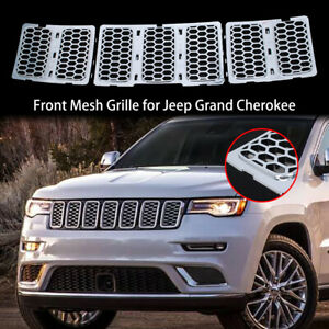 3pcs Honeycomb Mesh Grille Inserts Trim Chrome For Jeep Grand Cherokee 2014 2016
