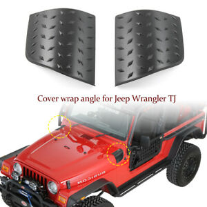 2pcs Side Hood Armor Corner Cowl Cover Guards For Jeep Wrangler Tj 1997 06 Black