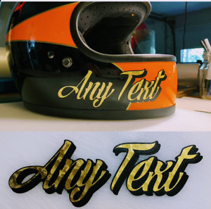 2x Custom Text Decals Gold Leaf Simpson Racing Bandit Outlaw M30 Ghost Helmet