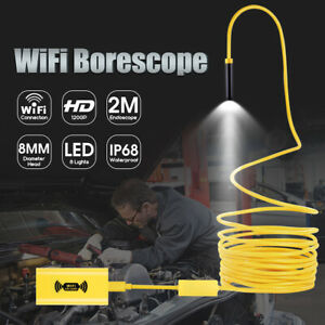 Wifi Endoscope Borescope 8led Snake Inspection Camera Ip68 For Iphone Android Us