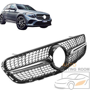 Black Diamond Style Front Grille Grill For Mercedes W X253 Glc250 Glc300 2016 19