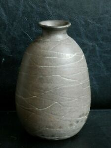 Old Mid Century Modern Era Fine Art Pottery Ceramic Abstract Design Vase Signed