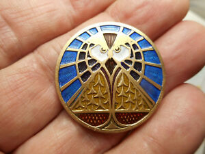 Unusual Colorful Art Deco Painted Owl New Brass Button 1 1 4