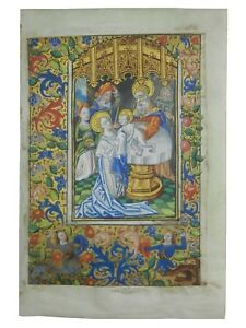 Circa 1470 Medieval Vellum Illuminated Manuscript Leaf Book Of Hours Miniature