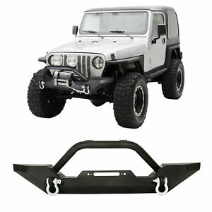 Front Bumper With D rings Winch Plate For Car Jeep Wrangler Tj Yj 1986 2005