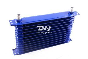 High Performance Racing Remote Engine Transmission 13 Row 10an Oil Cooler Blue