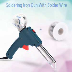 60w Auto Electric Soldering Iron Gun With Flux 2 1 0mm Solder Wire Tin Wire Kit