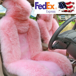 Car Suv Front Seat Cover Pink Australian Sheepskin Fur Full Coverage Breathable