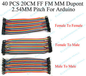 40pcs 20cm 2 54mm Ff Fm Mm Dupont Wire Jumper Cables Male To Female For Arduino