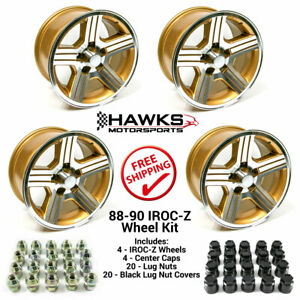 1988 1990 Camaro Iroc Z 17x9 Gold Wheels Kit Lug Nuts Caps Ht179iroczgold Kit