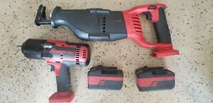 Snap On Tools 1 2 Inch Cordless Impact Wrench And Cordless Sawzall Like New Cond