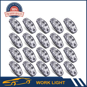 20pcs Car Vehicle 2 5 Red 2led Light Side Marker Surface Mount Clear Lens Lamp
