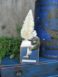 Antique Wood Toy Block Original Paint Paper Doll Christmas Tree Free Shipping