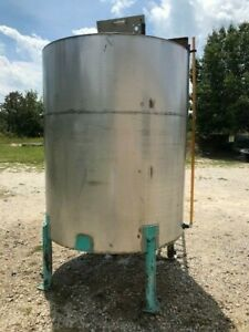 900 Gallon Stainless Steel Vertical Open Top Tank With Mixing Bridge On Legs