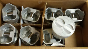 350 Chevy Flat Top Pistons Cast 030 Over Set Of 8