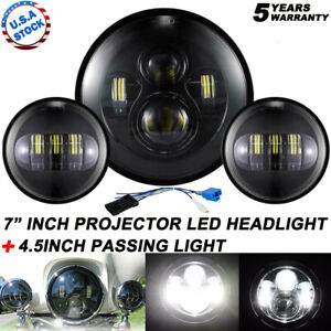 80w 7 Led Projector Headlight Passing Lights Fit For Harley Touring Black