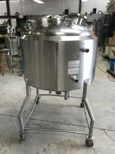 100 Gallon Stainless Steel Cherry Burrell Jacketed Mix Tank On Castors Ex Cond