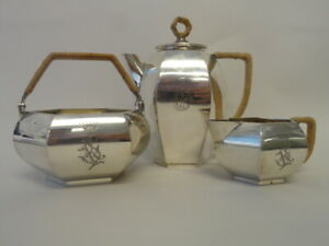 Antique Russian Silver 84 Three Piece Tea Set By Grachev Brothers