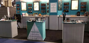 Trade Show Display Booth Teal lt Gray Color With 3 Podiums And Back Lights