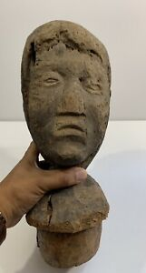 19th Century American Primitive Folk Art Life Size Bust Head Carving Of A Woman