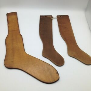 Lot Of 3 Antique Sock Stocking Stretchers Pearson Philadelphia Pa Child S Wood
