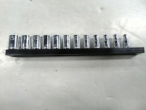 Mac Tools 12pc 1 4dr Metric Spline Precision Torque Socket Set Smm12sbrpt W Rail