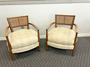 Mid Century Modern Arm Chair Pair Lounge Club Upholstered Danish Set Retro 1960s
