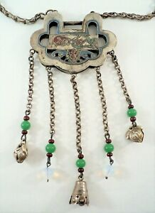Vtg Chinese Sterling Silver Ruyi Lock Pendant Long Chain Necklace Bells Jade