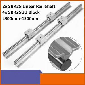 2x Sbr25 L300 1500mm 25mm Linear Slide Guide Shaft Rail 4x Sbr25uu Bearing Block