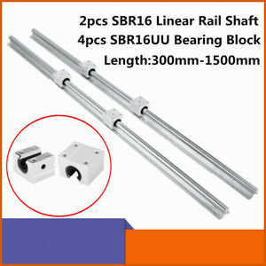 2x Sbr16 L300 1500mm 16mm Linear Slide Guide Shaft Rail 4x Sbr16uu Bearing Block