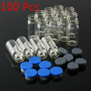 100pcs 10ml Clear Glass Bottle With Stopper Flip Off Seals Aluminum Blue Caps