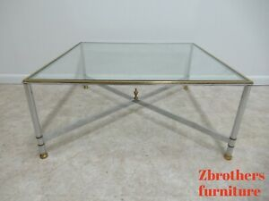 Vintage French Regency Chrome Brass Square X Base Coffee Table Jansen Style