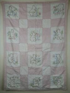 Antique Quilt Baby Bears Handmade Embroidered Very Old 1920 1940 Pink 34x46